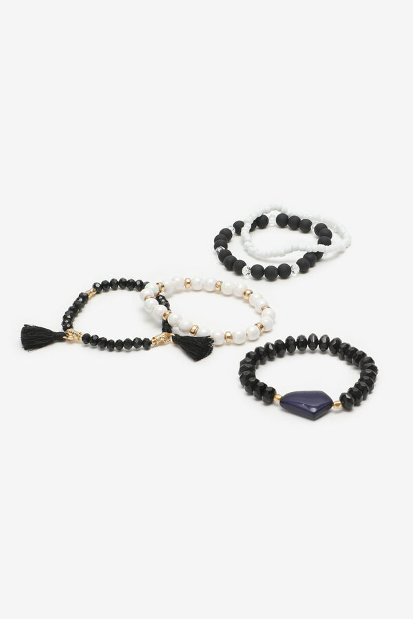 5-Pack Beaded Bracelets with Tassels