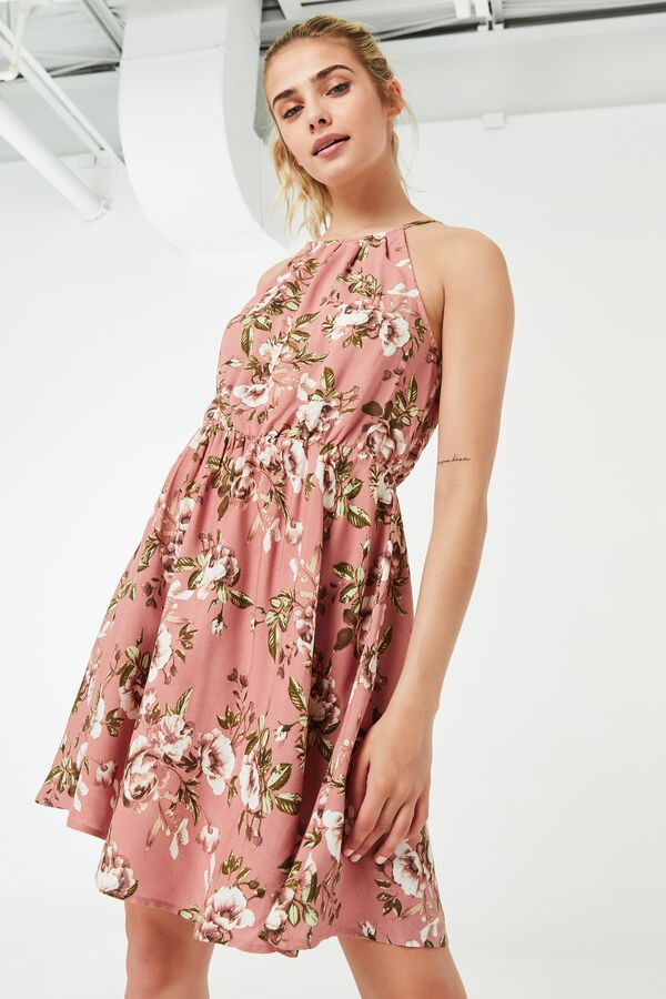 Robe à col licou fleurie