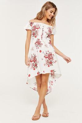 3f743a567259 Floral Off Shoulder High Low Dress