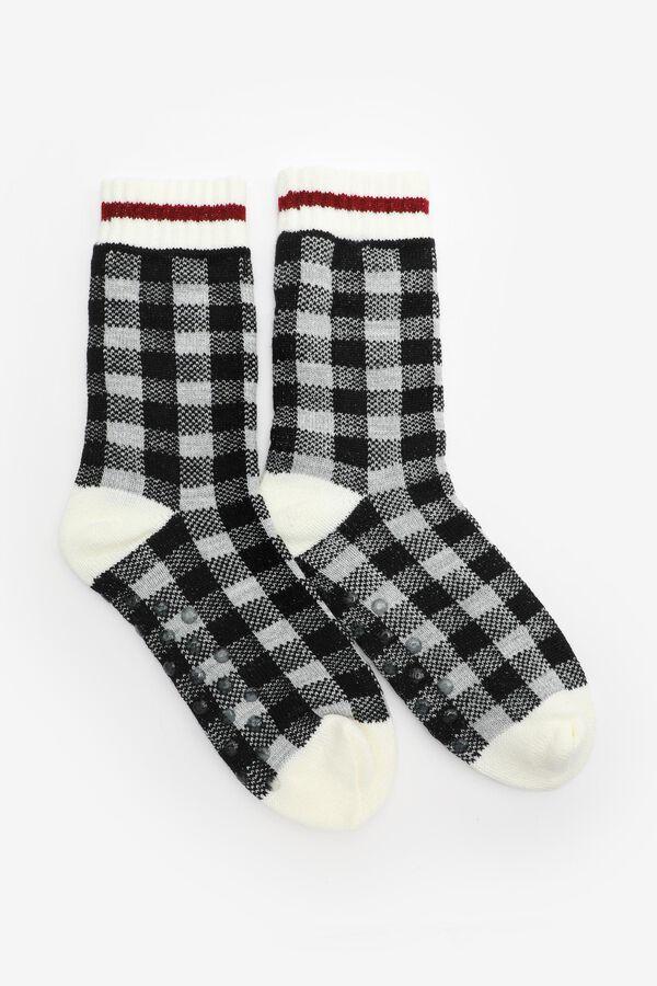 Chaussettes pantoufles à carreaux