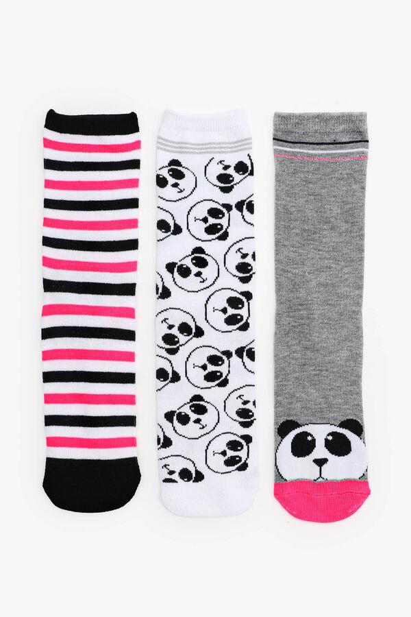 3-Pack Panda Crew Socks for Girls