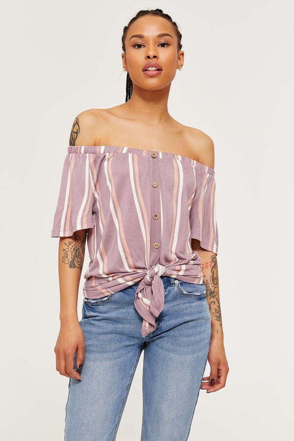 71cc9a181c1 Off Shoulder Striped Tie Front Top - Clothing | Ardene