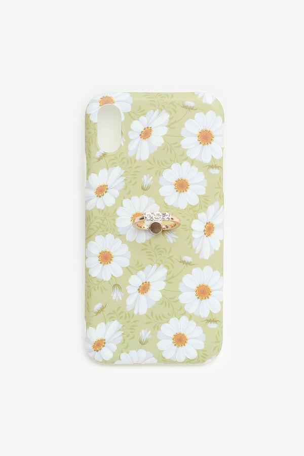 Étui d'iPhone XR à fleurs avec anneau