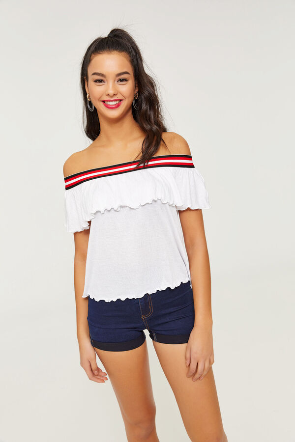 20734511de1 Ardene Ardene Women's Crepe Retro Stripe Off Shoulder Top, Striped Crepe  white, fall winter 2019 ...