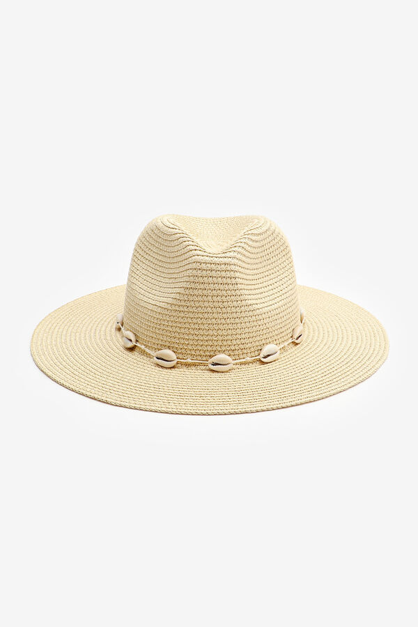 Straw Fedora Hat with Shell Band
