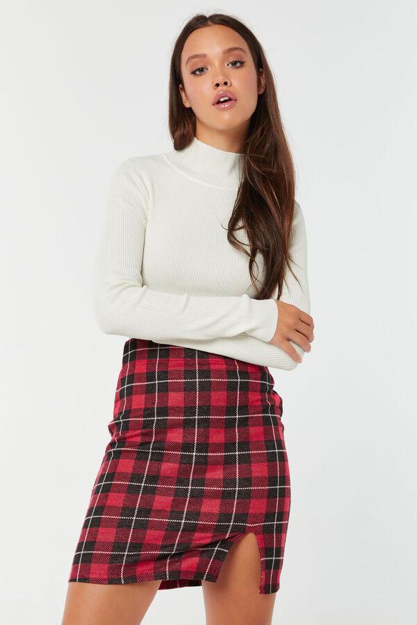 Plaid Skirt with Slit