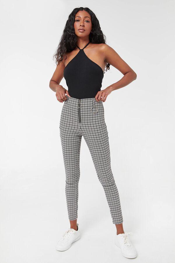 Zipped Plaid Pants