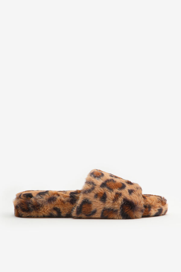 Faux Fur Leopard Slide Slippers