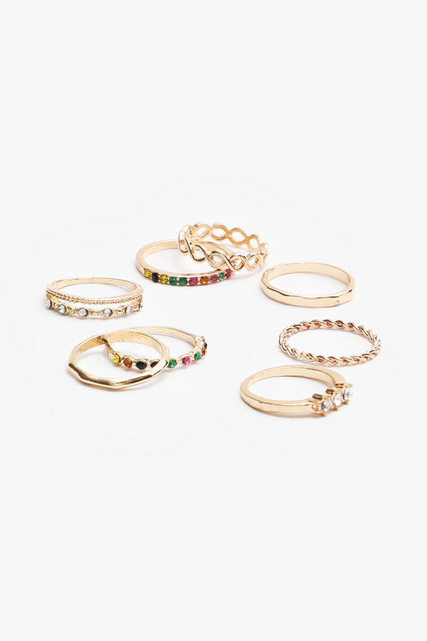 Pack of Multicoloured Stone Rings
