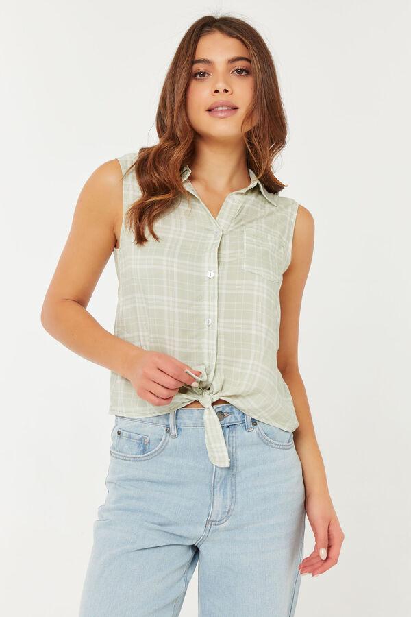 Tie Front Plaid Sleeveless Shirt