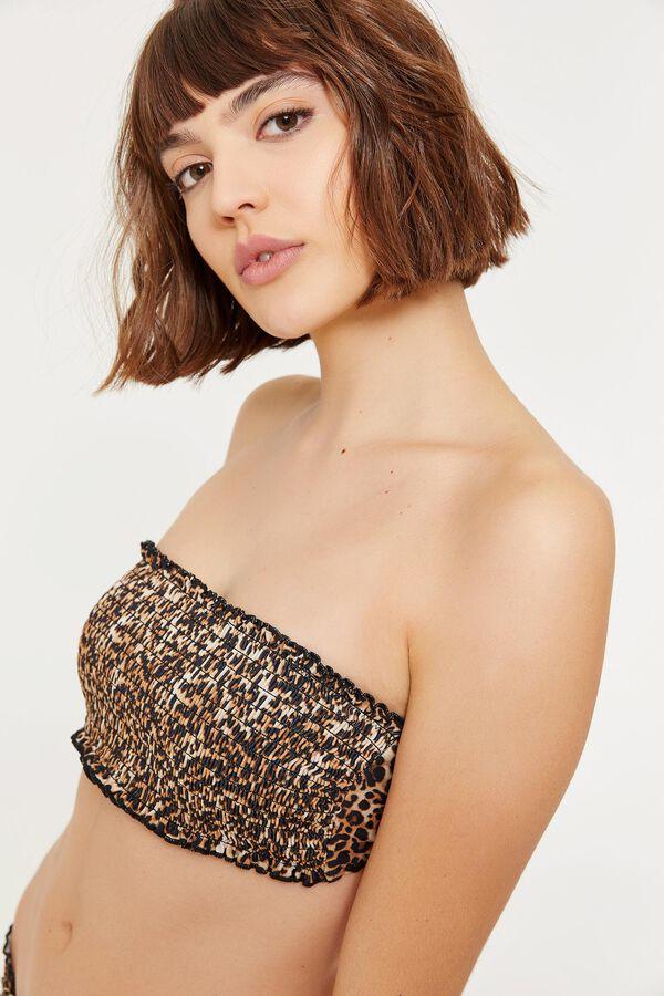 4220ee9751f76 Ardene Ardene Women's Smocked Leopard Bandeau Bikini Top, Leopard multi,  fall winter 2019 CLOTHING, ...