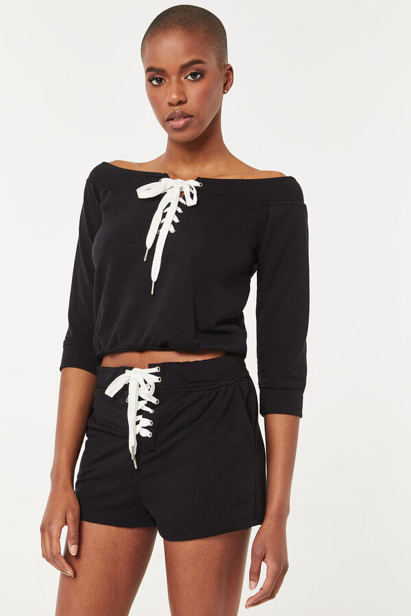 Lace Up Front French Terry Sweatshirt