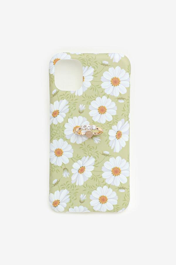Étui d'iPhone 11 à fleurs avec anneau