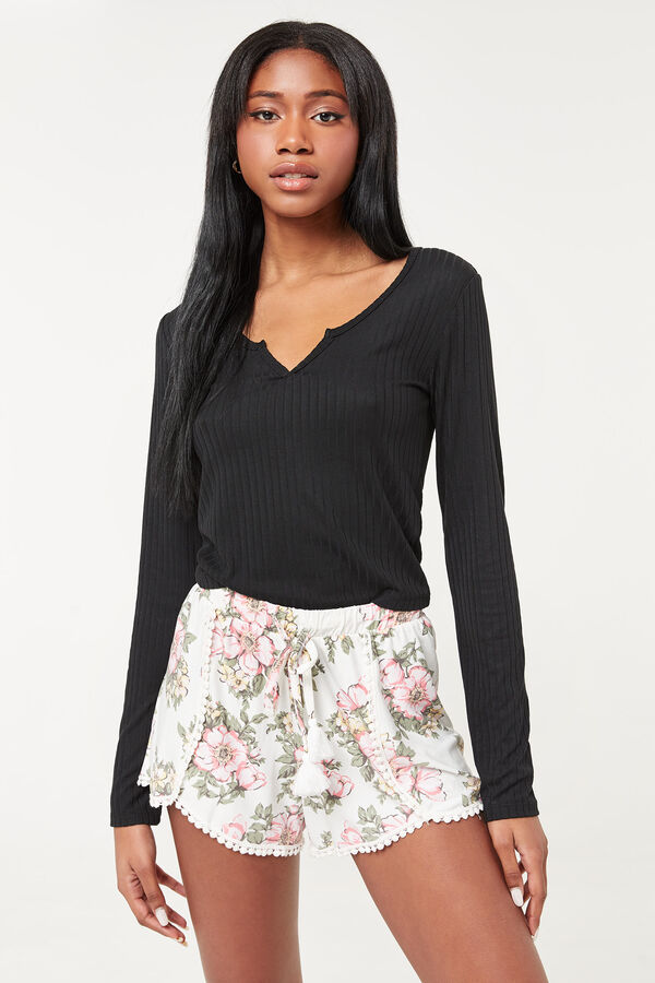 Floral Soft Shorts with Tassels