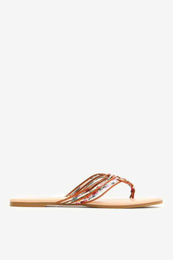 Braided Floral Flip-Flops