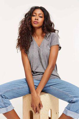 44b057a4a94008 Sheer Zip Collar T-shirt