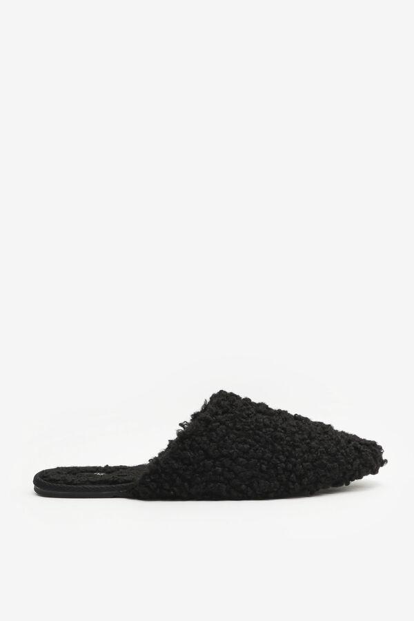 Faux Sherpa Pointy Mule Slippers