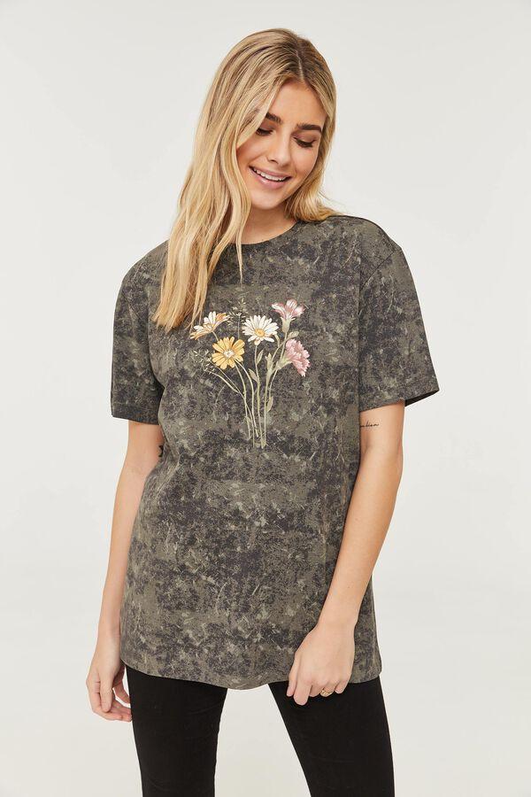 T-shirt fleuri en coton