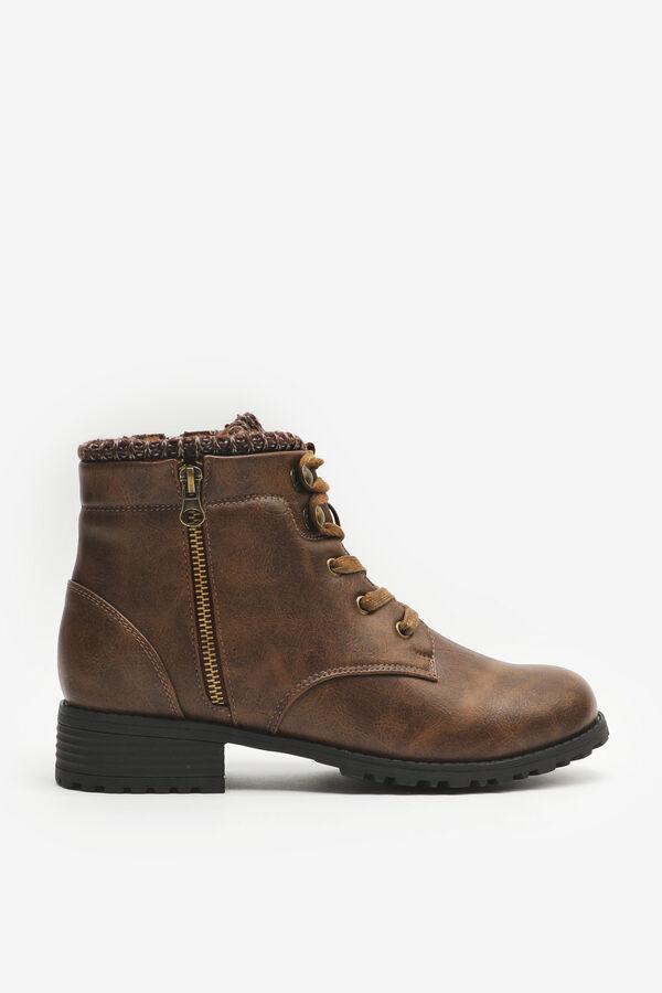 Knit Collar Low Cut Combat Boots