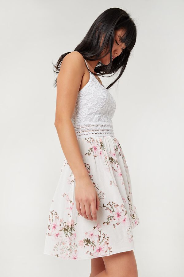Lace and Floral Crepe Mini Dress