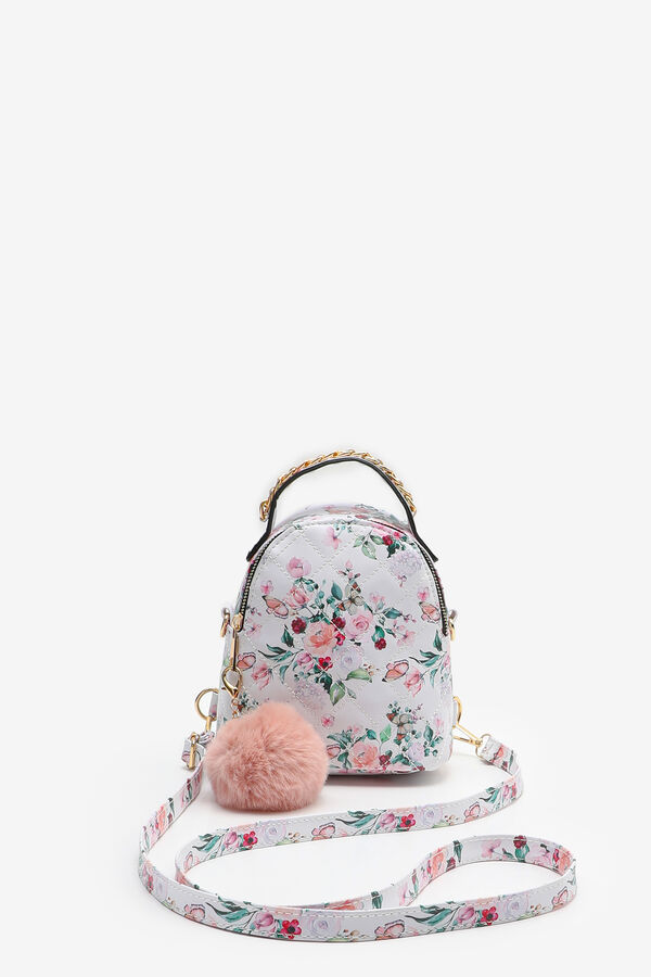 Quilted Backpack with Pompom