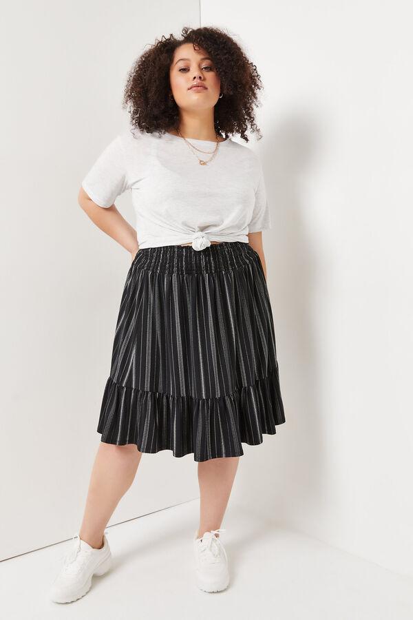 Plus Size Smocked Stripe Midi Skirt