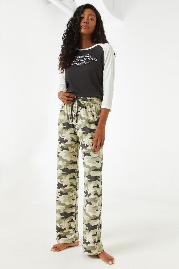 Pantalon de pyjama évasé camo