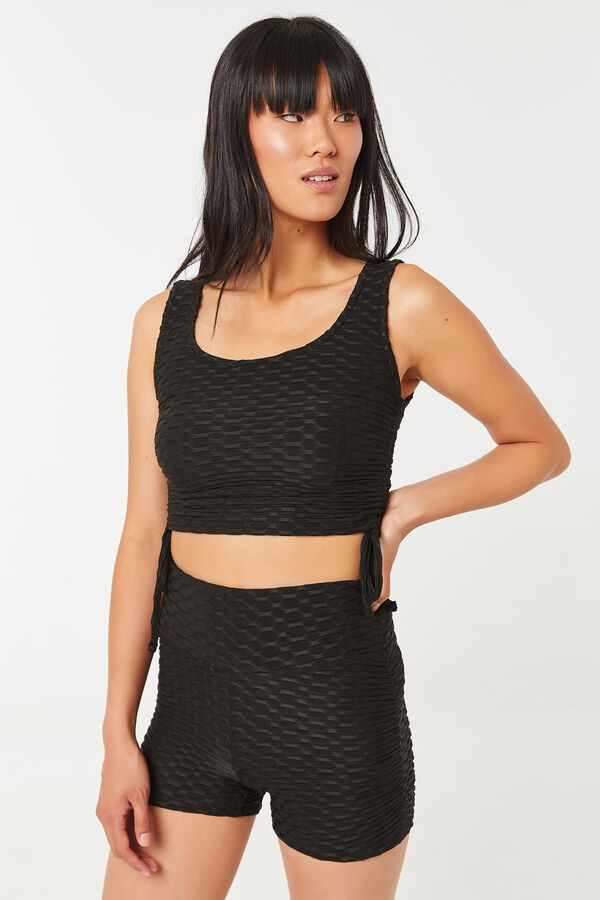 Honeycomb Biker Shorts with Cinched Sides