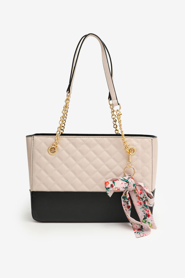 Quilted Tote Bag with Floral Scarf