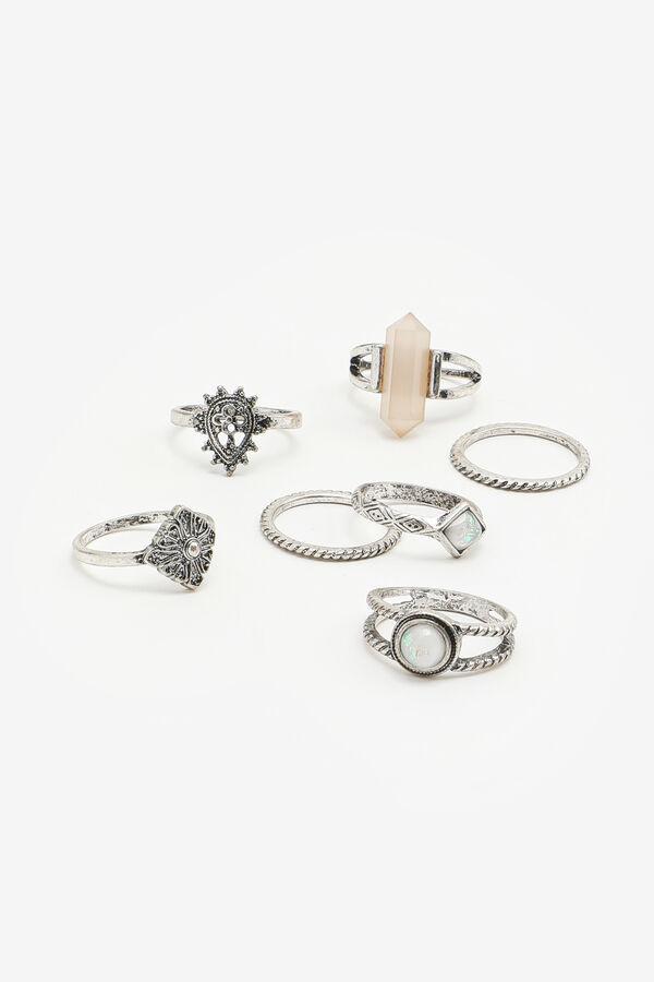 7-pack Faux Gemstone Rings