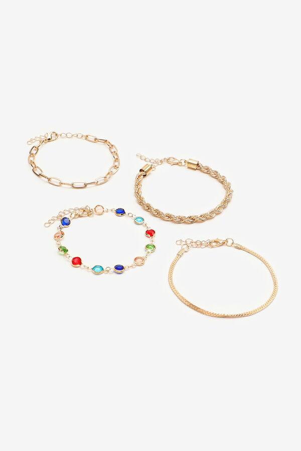 4-Pack Gold Tone Chunky Chain Bracelets