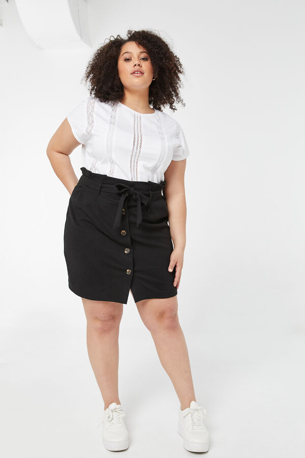 Plus Size Basic Tee with Crochet Inserts