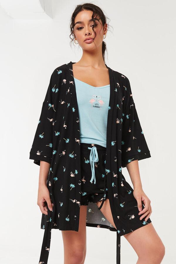 Ensemble pyjama et peignoir flamants roses