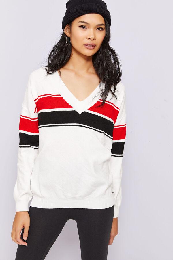 7469e23533 Ardene Ardene Women s Kendall   Kylie Striped V-Neck Sweater