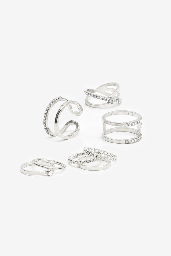 Pack of Assorted Silver Tone Rings