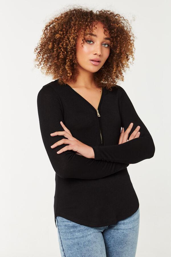 Half-Zip V-Neck Sweater