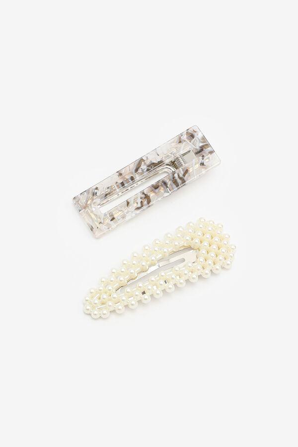 Duo de pinces à cheveux perles et acrylique