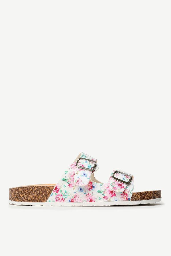 Sandales fleuries glissières à boucle