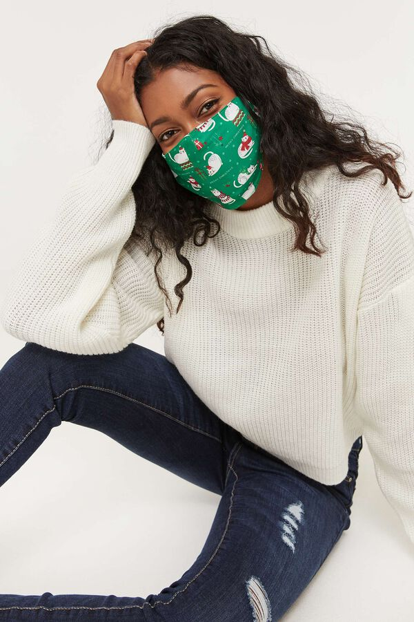 Meowy Christmas Reusable Face Covering