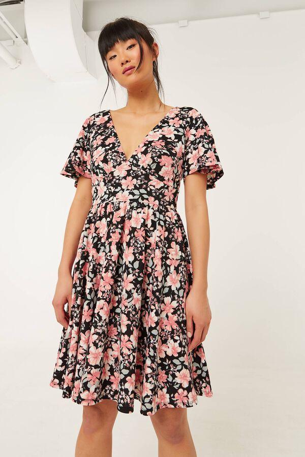 Floral Crêpe V Mini Dress