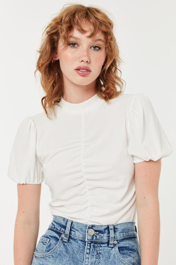 Balloon-Sleeve Tee with Shirring