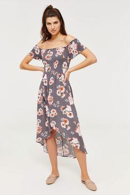 c343ee8399 Smocked Off Shoulder High-Low Maxi Dress