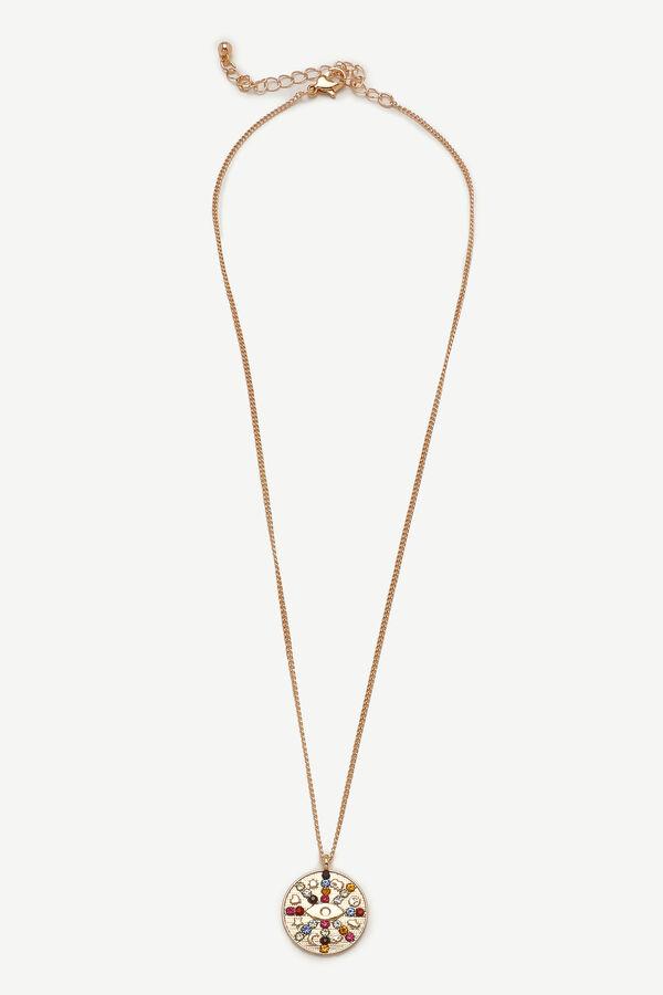 Collier long à pendentif de medallion à pierres