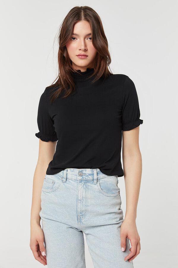 T-shirt à col montant smocké