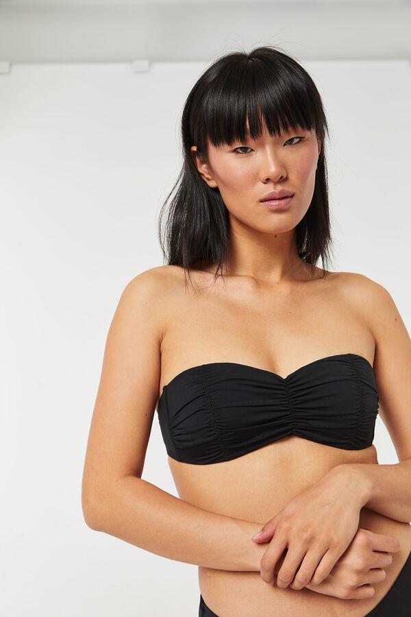 Haut bikini bandeau froncé