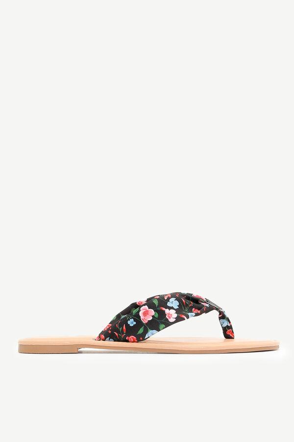 Floral Knit Strap Flip-Flops