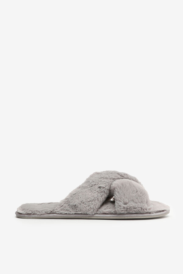 Crissrossed Faux Fur Slippers