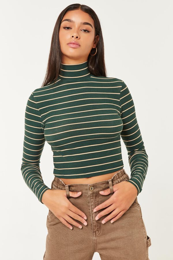 Ultra-Cropped Striped Mock Neck Tee