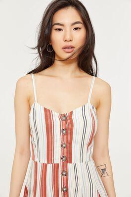 031eb3c7481e Striped Buttoned A-line Midi Dress