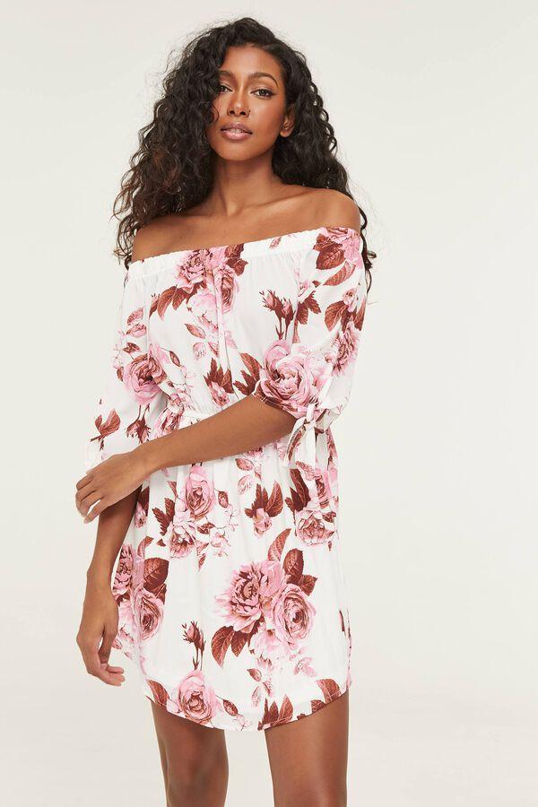 Off Shoulder Floral Mini Dress